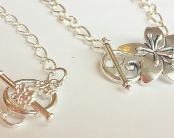 Flower Clasp Charm Bracelet - Silver Plated Toggle Clasp Charm Bracelet - Miniature Food Jewelry - Food Charm Bracelet