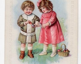 Easter Vintage  Postcard  Girl, Boy Easter eggs, antique postcard