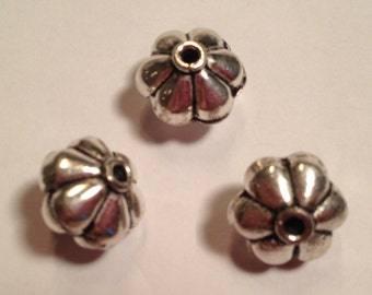 Bali Sterling Silver 15 X 12mm Pumpkin Beads set of (3), Jewelry Supplies, Sterling Silver Beads