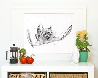 """RACCOON  """"sometimes you just have to jump"""" *Limited Edition Giclée Print on Watercolour Paper - 300gsm."""