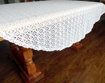 Bright White Lace Tablecloth Lace Overlay 66 Inches Round ECS SVFT