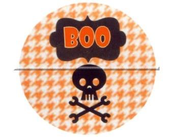 1 cabochon 25mm glass, Halloween, skull, orange and black tone