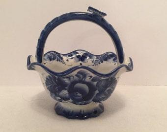 Vintage Gzhel Porcelain Russian Basket