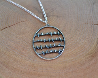 Birds on a Wire Oval Pendant Necklace - jewellery