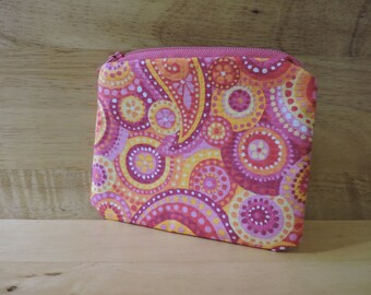 Pink and Orange Paisley Zippered Coin Purse