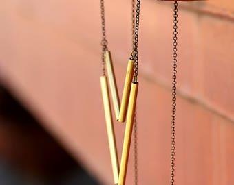 Brass Chevron Necklace // Pendant // Handmade Jewelry //