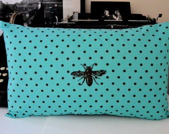 Bee and Dots on Aqua Pillow Cover