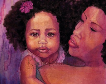 NEW Sweet Girl 8x10 African American art print