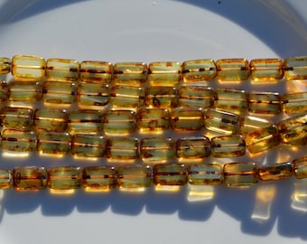 Jonquil Picasso 12x9mm Table Cut Czech Glass Rectangles  10