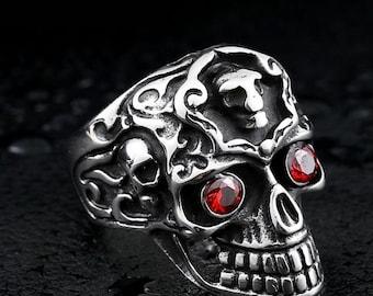 Punk Gothic Ring Titanium Skull Cross Red Eyes gothic Jewelry Vintage ring biker ring punk ring goth ring