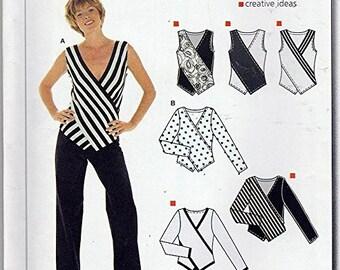 Burda 8217 Size 10-22 Misses Sleeveless or Long Sleeve Wrap Top Sewing Pattern  / UNCUT Factory Folded