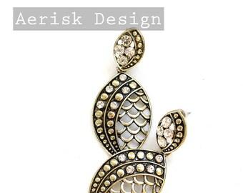 Gold Art Deco Mermaid Scales Dangle Post Earrings (Vintage find) fancy evening earrings for bridal,little black dress,speakeasy lounge
