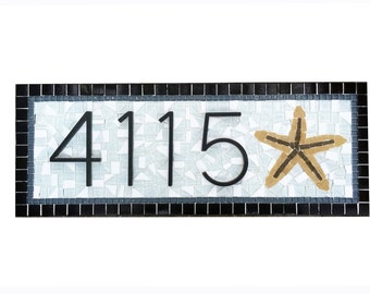 House Numbers Black // Starfish // Mosaic Address Sign // Custom House Number Plaque