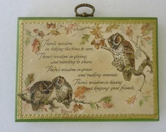 Owl Poem Wooden Plaque