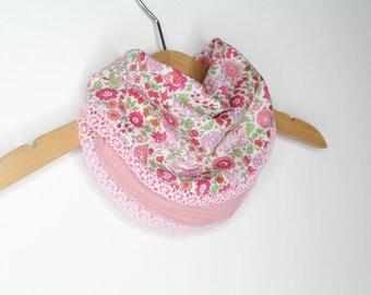 Double cotton gauze scarf teething bandana - little bib - teeth - Liberty - pink
