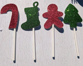 Christmas Cupcake Toppers, Holiday Cupcake Toppers, Christmas Decor, Holiday Party