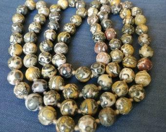 "Vintage Jasper Ocean Fossil Bead Necklace 30"""