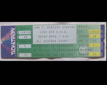 Live Aid 1985 Authentic Philadelphia unused concert ticket (1st Led Zeppelin reunion)+Dylan/Madonna+