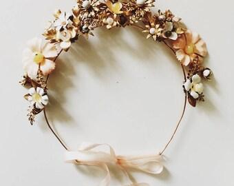 Wildflower crown #1501, ceramic and brass