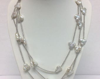 Sterling Silver 3-Strand Necklace With Freshwater Coin Shape Cultured Pearls
