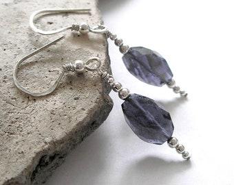 Blue Iolite Earrings Sterling Silver September Birthstone Water Sapphire Metaphysical Healing Stones