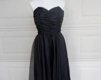 SALE Vintage Strapless Party Dress . Black Chiffon Ruched LBD