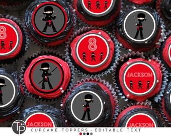 NINJA Cupcake Toppers, Instant download NINJA Cupcake Toppers, Ninja Party, Red Ninja Party, Editable cupcake toppers, printable ninja