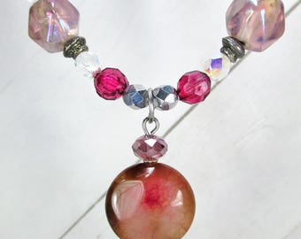 Necklace and Earrings Set - Raspberry Shine    ** was 40.00 **