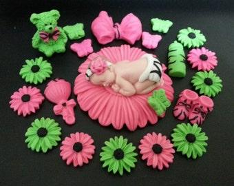 Fondant baby zebra pink/lime daisy flower cake topper