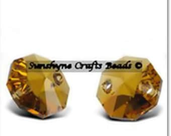 Swarovski Crystal Beads 6404 TOPAZ 12MM Octagon 2 Hole Faceted Pendant 2 Pcs  - Other Colors Available
