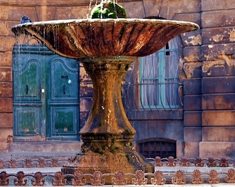 Travel Photography- Lovebirds at the Fountain in Aix-en-Provence, France- French, European, Nature, Fine Art Photography