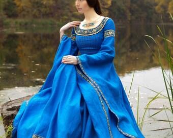 "Blue Dress ""Lady of the Lake"" medieval dress; linen dress; ice blue dress; cobalt blue dress"