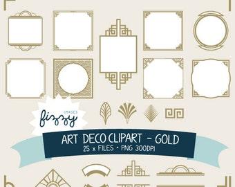 PNG: 25 x Art Deco 1920s 1930s Gold Clipart and Borders - Digital files PNG 300dpi. CA0062