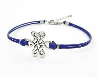 Antique Silver Knot Bracelet, Blue String Bracelet, Waxed Cord Bracelet, Celtic Knot bracelet, Infinity Knot Bracelet