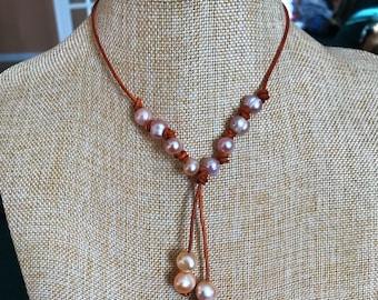 Peach Pearl Drop Necklace