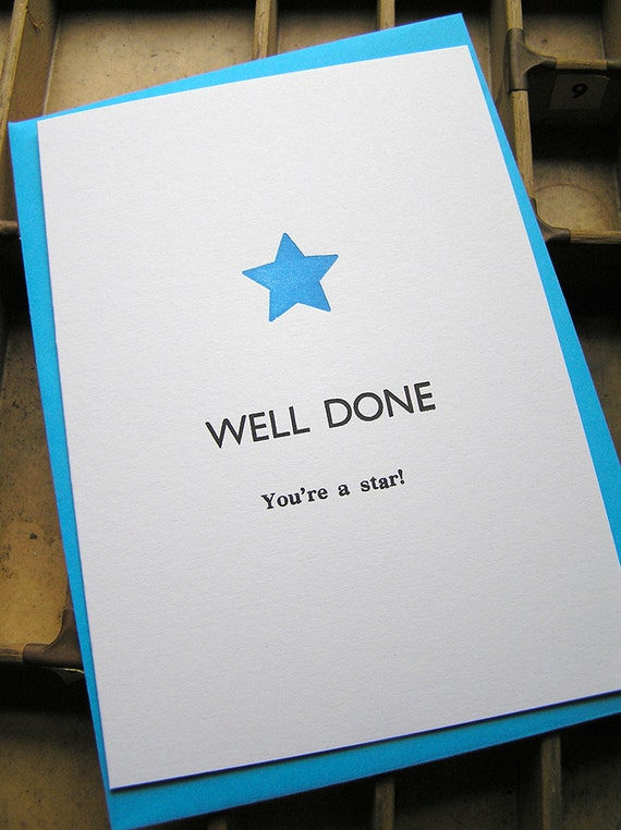 Letterpress greetings card well done youre a star m4hsunfo