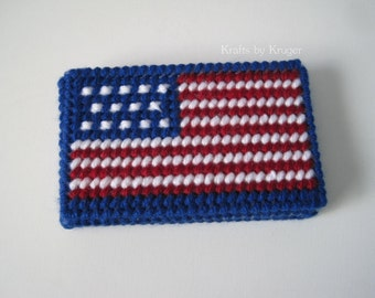 USA American Flag, Stars and Stripes, Business or Gift Card Holder, Plastic Canvas