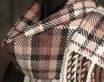 Plaid scarf / Brown scarf / Handwoven scarf / Merino wool scarf / Winter scarf