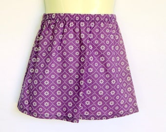 Girls Purple Floral Skirt - sizes 0 to 6 avail - retro, 70's cotton flower daisy