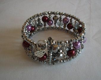 Silver crystal beaded cuff