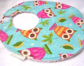 On a Whim Owls in Aqua - Boutique Bib w terry cloth backing, snag free velcro closure