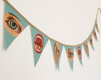 Bunting Eyes and Hands. Banners. Fabric Bunting. Illuminati. The Eye of Providence