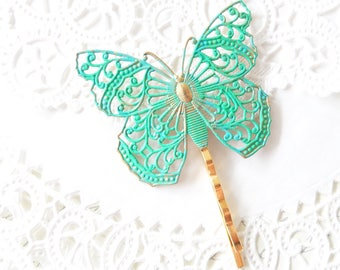 Large Butterfly Hair Pin - Green Patina Butterfly Bobby Pin - Ornate Filigree Butterfly Hair Pin - Aqua Butterfly Hair Pin - Woodland Hair