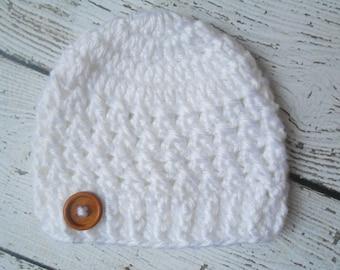 Baby hat, white baby Hat, Baby girl Beanie, Baby Newborn Hat, Newborn Beanie, Crochet Baby Hat, white , Baby Boy, Newborn Hat