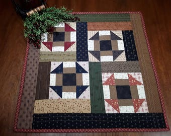 Quilted Table Topper /  Primitive Table Topper  / Scrappy Table Runner  / Country Table Topper / Handmade