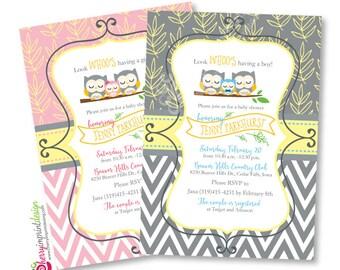 Owl Boy or Girl Baby Shower Invitation - Family Owl - Chevron - DIY Digital File (PDF or JPEG)
