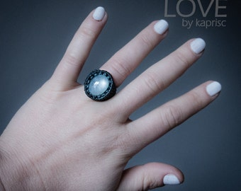 Star Aquamarine Macrame Ring