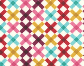 Liz Scott Fabric, Check Lattice Cream, Domestic Bliss by Liz Scott for Moda Fabric, 18075-20