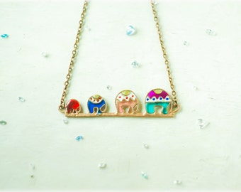 Adorable necklace Elefant Family. Funny Necklace. Family necklace. Elefant necklace. Cute necklace.
