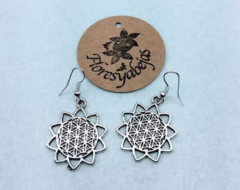 Silver earrings with flower of life